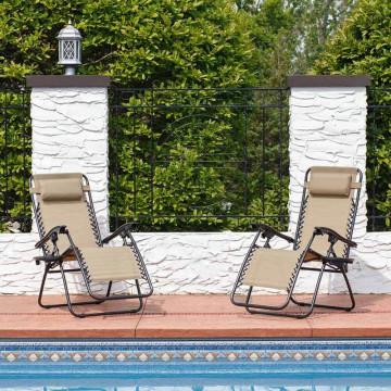 Zéró gravitáció kerti szék ajándék pohártartóval, 2 db - Bézs színben