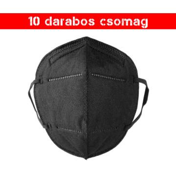 Fekete KN95 légzésvédő arcmaszk / szájmaszk (FFP2) - 10 darabos csomag