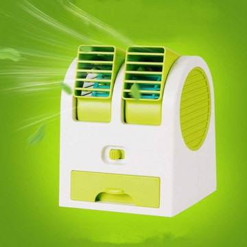 Mini asztali kettős ventilátor - zöld