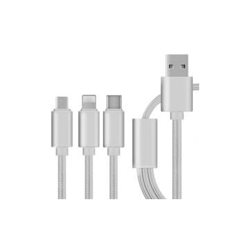 3 az 1-ben megtörhetetlen USB töltőkábel - Micro USB, USB C és Lightning csatlakozóval