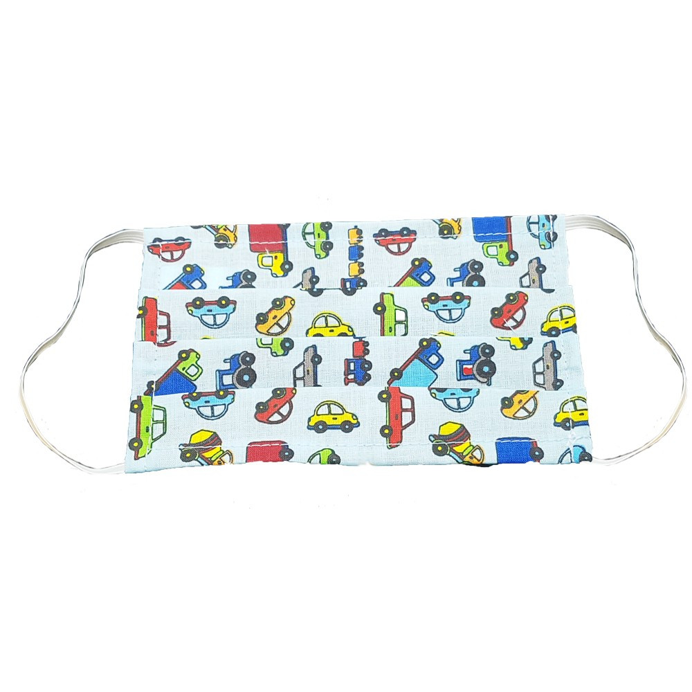 Mosható szövet maszk, gyermekek számára, 5 db / csomag, kék-autós