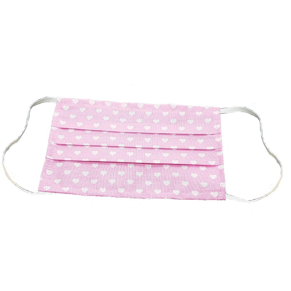 Mosható szövet maszk, felnőtt nők számára, 5 db / csomag, rózsaszín-szivecskés