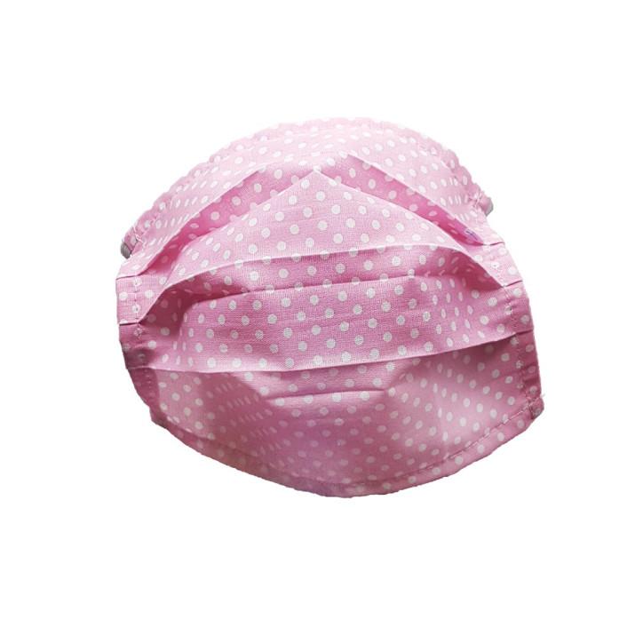 Mosható szövet maszk, felnőtt nők számára, 5 db / csomag, rózsaszín-pöttyös
