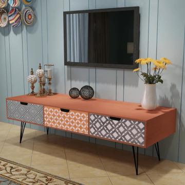 120x40x36 cm TV szekrény 3 fiókkal barna - utánvéttel vagy ingyenes szállítással
