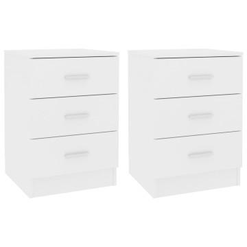 2 db fehér forgácslap éjjeliszekrény 38 x 35 x 56 cm - utánvéttel vagy ingyenes szállítással