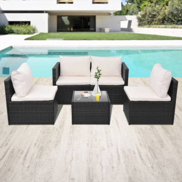 5-részes fekete polyrattan kerti bútorszett párnákkal - utánvéttel vagy ingyenes szállítással