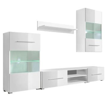 5 részes, fehér fali TV állvány szett LED világítással - utánvéttel vagy ingyenes szállítással