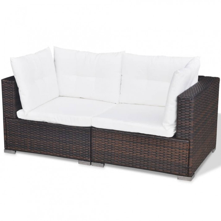 5-részes barna polyrattan kerti bútorszett párnákkal - utánvéttel vagy ingyenes szállítással