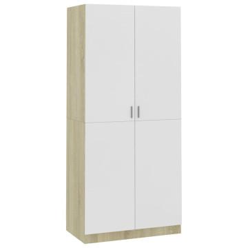 Fehér és sonoma-tölgy forgácslap ruhásszekrény 90x52x200 cm - utánvéttel vagy ingyenes szállítással