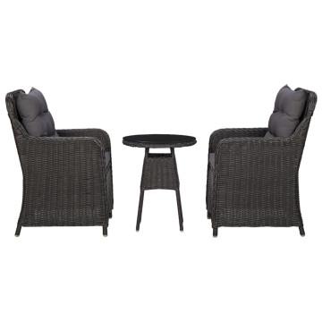 2 db fekete polyrattan kerti szék teázóasztallal - utánvéttel vagy ingyenes szállítással