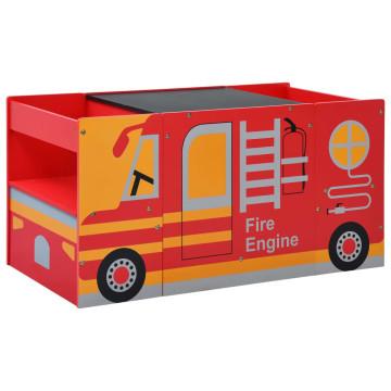 3-részes tűzoltóautó formájú gyerekasztal- és székkészlet - utánvéttel vagy ingyenes szállítással