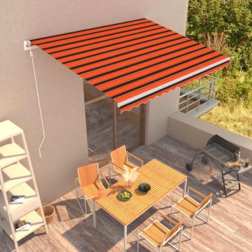 Narancssárga és barna automata napellenző 400 x 300 cm - utánvéttel vagy ingyenes szállítással