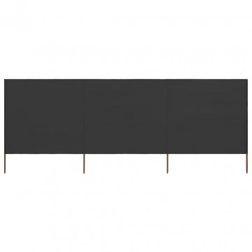 3 paneles antracitszürke szövet szélfogó 400 x 80 cm - utánvéttel vagy ingyenes szállítással