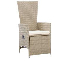 2 db bézs dönthető háttámlás polyrattan kerti szék párnával - utánvéttel vagy ingyenes szállítással