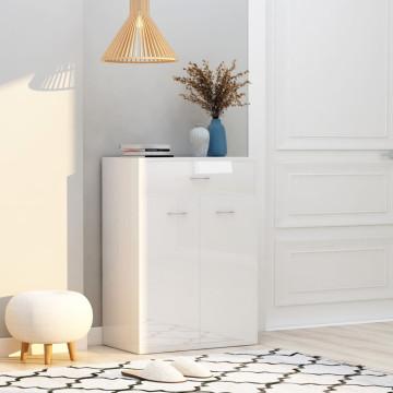 Magasfényű fehér forgácslap cipősszekrény 60 x 35 x 84 cm - utánvéttel vagy ingyenes szállítással
