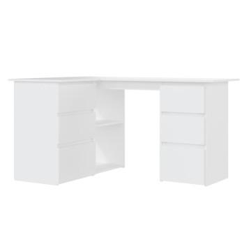 Fehér forgácslap sarok íróasztal 145 x 100 x 76 cm - utánvéttel vagy ingyenes szállítással