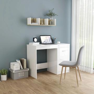 Magasfényű fehér forgácslap íróasztal 100 x 50 x 76 cm - utánvéttel vagy ingyenes szállítással