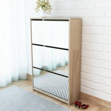 3 szintes tölgyfa cipőszekrény tükörrel 63 x 17 x 102,5 cm - utánvéttel vagy ingyenes szállítással