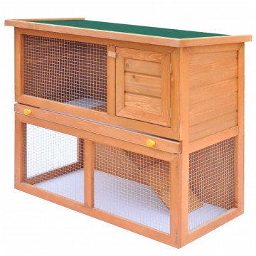 Kültéri fa nyúlketrec kisállatok számára 1 ajtóval - utánvéttel vagy ingyenes szállítással