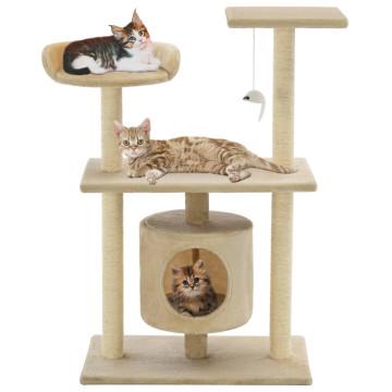 Bézs macskabútor szizál kaparófákkal 95 cm - utánvéttel vagy ingyenes szállítással
