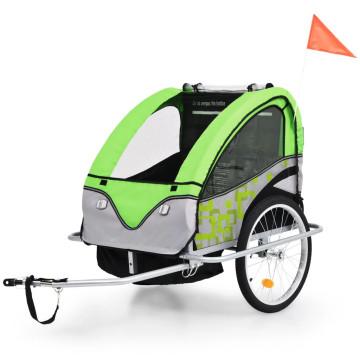 2 az 1-ben zöld/szürke kerékpár utánfutó és babakocsi - utánvéttel vagy ingyenes szállítással