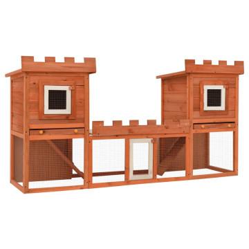 Kültéri nagyméretű nyúlketrec/kisállatketrec két házikóval - utánvéttel vagy ingyenes szállítással