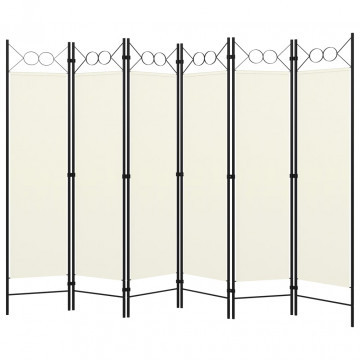 Fehér 6 paneles paraván 240 x 180 cm - utánvéttel vagy ingyenes szállítással