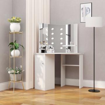 Fehér sarok-fésülködőasztal LED-izzókkal - utánvéttel vagy ingyenes szállítással
