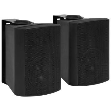2 db fekete bel- és kültéri fali sztereó hangszóró 80 W - utánvéttel vagy ingyenes szállítással