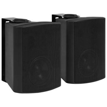 2 db fekete bel- és kültéri fali sztereó hangszóró 100 W - utánvéttel vagy ingyenes szállítással