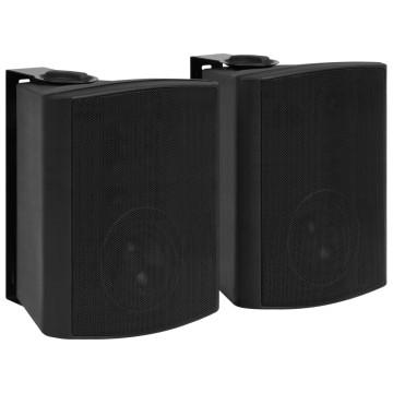 2 db fekete bel- és kültéri fali sztereó hangszóró 120 W - utánvéttel vagy ingyenes szállítással