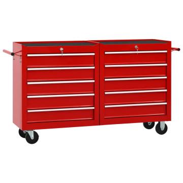 10 fiókos piros acél szerszámos kocsi - utánvéttel vagy ingyenes szállítással