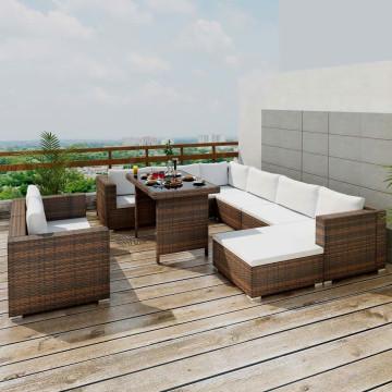 10-részes barna polyrattan kerti bútorszett párnákkal - utánvéttel vagy ingyenes szállítással
