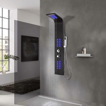 Fekete alumínium zuhanypanel 20 x 44 x 130 cm - utánvéttel vagy ingyenes szállítással