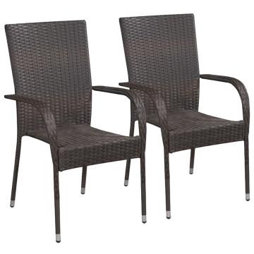 2 db barna rakásolható polyrattan kültéri szék - utánvéttel vagy ingyenes szállítással