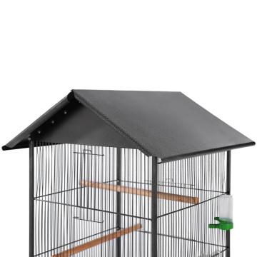 Fekete acél madárkalitka tetővel 66 x 66 x 155 cm - utánvéttel vagy ingyenes szállítással