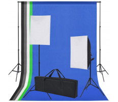 Fotó stúdió szett: 5 db színes háttér és 2 db softbox - utánvéttel vagy ingyenes szállítással