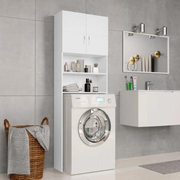 Fehér forgácslap mosógépszekrény 64 x 25,5 x 190 cm - utánvéttel vagy ingyenes szállítással