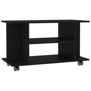 Fekete forgácslap TV-szekrény görgőkkel 80 x 40 x 40 cm - utánvéttel vagy ingyenes szállítással