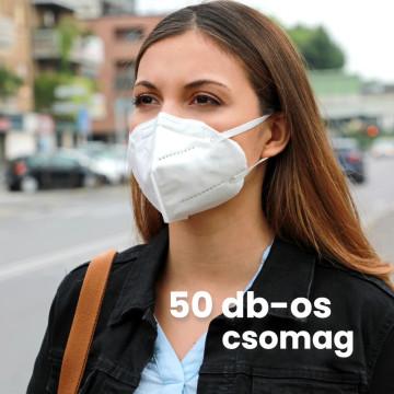 50 darab KN95 légzésvédő egészségügyi arcmaszk / szájmaszk (FFP2)